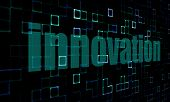 Постер, плакат: Pixelated Words Innovation On Digital Background