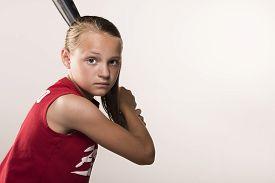 pic of softball  - Softball girl with bat over her shoulder - JPG