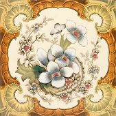 stock photo of art nouveau  - An antique Victorian wall or fire place tile with floral design within a classical cartouche c1880 - JPG