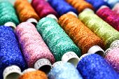 pic of lurex  - Set of coloured bobbins of lurex thread - JPG