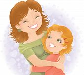 image of heartfelt  - Little girl hugging her mother - JPG