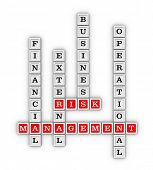 Type of Risk crossword. Risk management concept. 3D illustration on white background. poster