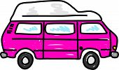stock photo of campervan  - pink motorhome campervan isolated on white  - JPG