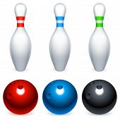 Bowling balls and pins.