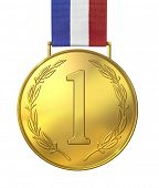 stock photo of gold medal  - Gold medal of honor with numbers - JPG