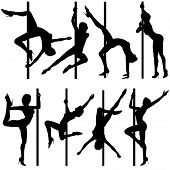 stock photo of pole dancing  - Big collect silhouettes dancing women vector illustration element for design - JPG