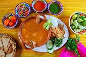 image of poblano  - shrimp seafood soup mexican chili sauces and nachos - JPG