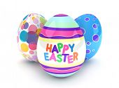 picture of happy easter  - 3D Illustration of Easter Eggs with Easter Greetings - JPG