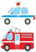 Постер, плакат: Полицейский автомобиль и пожарная машина