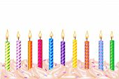 stock photo of birthday-cake  - 10 Colorful Birthday Candles Isolated On White Background Vector Illustration - JPG