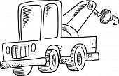picture of tow-truck  - Sketchy Tow Truck Vector Illustration - JPG