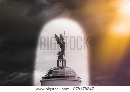 Archangel Michael Sculpture Against The