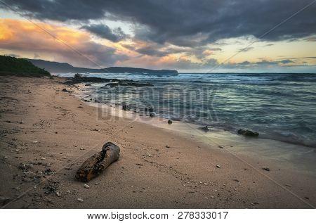 poster of Ocean In Sunrise Nature Landscape. Clouds And Ocean Landscape. Ocean Nature In Sunrise. Nature Lands