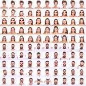 Collage Of Emotions Girl And Bearded Man. Different Emotions. Emoji Set Of Pretty Girl&bearded Man.  poster