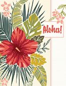 Retro Bold Colorful Exotic Foliage And Hibiscus Flowers Vector Greeting Card. Vintage Lush Tropical  poster