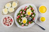 Green Beans With Crab Sticks, Boiled Eggs In White Dish, Bowls With Mayonnaise, Crab Sticks, Salt Sh poster