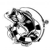 Fishing Logo. Bass Fish With Rod Club Emblem. Fishing Theme Vector Illustration. Isolated On White. poster