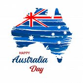Happy Australia Day. Map Of Australia With Flag. Vector Illustration For Greeting Card, Poster And B poster