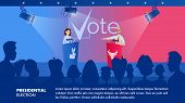 Illustration Woman Listens Her Political Opponent. Banner Vector Presidential Election. Two Politica poster