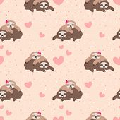 Cute Couple Sloth Seamless Pattern. Cute Animal In Valentine Concept. poster