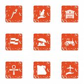 Sightseeing Icons Set. Grunge Set Of 9 Sightseeing Icons For Web Isolated On White Background poster