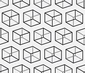 Geometric Shapes Seamless Pattern With Flat Line Icons Of Cube Figure. Modern Abstract Background Fo poster