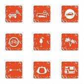 Alarm Signal Icons Set. Grunge Set Of 9 Alarm Signal Icons For Web Isolated On White Background poster