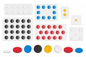 Illustration On Theme Big Colored Set Different Types Of Pills Inside Close Blister. Pill Pattern Co poster