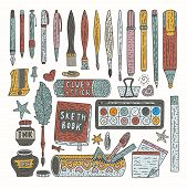 Drawing Accessories Color Vector Set. Doodle Color Drawing Supplies For School And Office With Pen,  poster