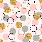 Glitter Circle Seamless Pattern. Golden Circles With Sparkles And Star Dust. Wallpaper Design With G poster