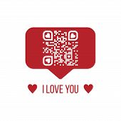 Vector Illustration Of I Love You Text Qr Code In Red Chat Bubble On White Background. Can Be Used A poster