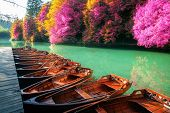Boats Parking At Pier With Turquoise Lake Landscape Of Plitvice Lakes National Park, Unesco Heritage poster