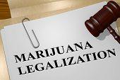 3d Illustration Of Marijuana Legalization Title On Legal Document poster