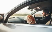Man Riding A Car And His Beagle Dog Companion Sits Near Him On Front Seat poster
