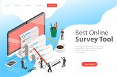 Flat Isometric Vector Concept Of Online Survey Tool, Customer Review. poster