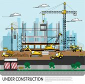 Vector Of Busy Construction Site With Workers , Truck , Crane And Heavy Equipment Working On Buildin poster