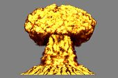 Big Very Detailed Mushroom Cloud Explosion With Smoke And Fire Like From Thermonuclear Bomb Or Any O poster
