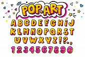 Comic Retro Letters Set. Alphabet Letters And Numbers In Style Of Comics poster