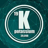 Potassium Chemical Element. Sign With Atomic Number And Atomic Weight. Chemical Element Of Periodic  poster