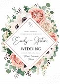 Wedding Invite, Invitation, Save The Date Card Floral Design. Pink Rose Flower, Blush Dusty Anemone  poster