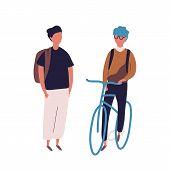 Teenage Boy Dressed In School Uniform Meeting His Friend On Bicycle Or Bike. Pair Of Students, Pupil poster