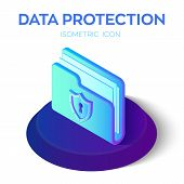 Folder Icon. 3d Isometric Locked Folder Sign. Data Protection Concept. Secure Data. Security Shield. poster