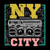 Street Style Colorful Print With Big Boombox For Hip Hop Or Rap Music With Nyc Type. For Fashion Des poster