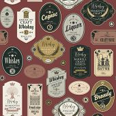 Vector Seamless Pattern With Collage Of Labels For Various Alcoholic Beverages On A Burgundy Backgro poster
