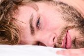 Man Unshaven Bearded Face Sleep Relax Or Just Wake Up. Guy Bearded Macho Relax In Morning. Man Attra poster