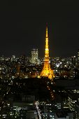 Tokyo City Skyline In Evening With Tokyo Tower  At Hight, Skyscaper poster