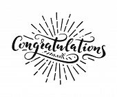 Congratulations Lettering. Handwriting Illustration. Calligraphic Greeting Inscription. Design Eleme poster