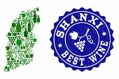 Vector Collage Of Wine Map Of Shanxi Province And Best Grape Wine Grunge Seal Stamp. Map Of Shanxi P poster
