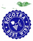 Vector Collage Of Wine Map Of Socotra Archipelago And Best Grape Wine Grunge Stamp. Map Of Socotra A poster
