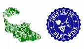 Vector Collage Of Wine Map Of Tiran Island And Best Grape Wine Grunge Seal. Map Of Tiran Island Coll poster